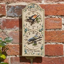 Smart Garden Birdberry Clock & Thermometer, Cream