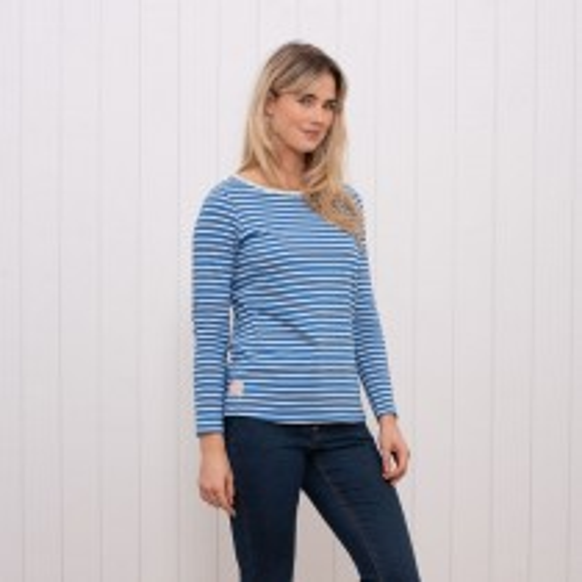 Brakeburn Yarn Dyed Long Sleeve T-Shirt, UK8, Blue