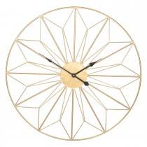 Pacific Lifestyle Antique Gold Metal Geo Design Round Wall Clock