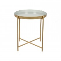 Casa Metal Round Side Table Small, Light Grey & Gold