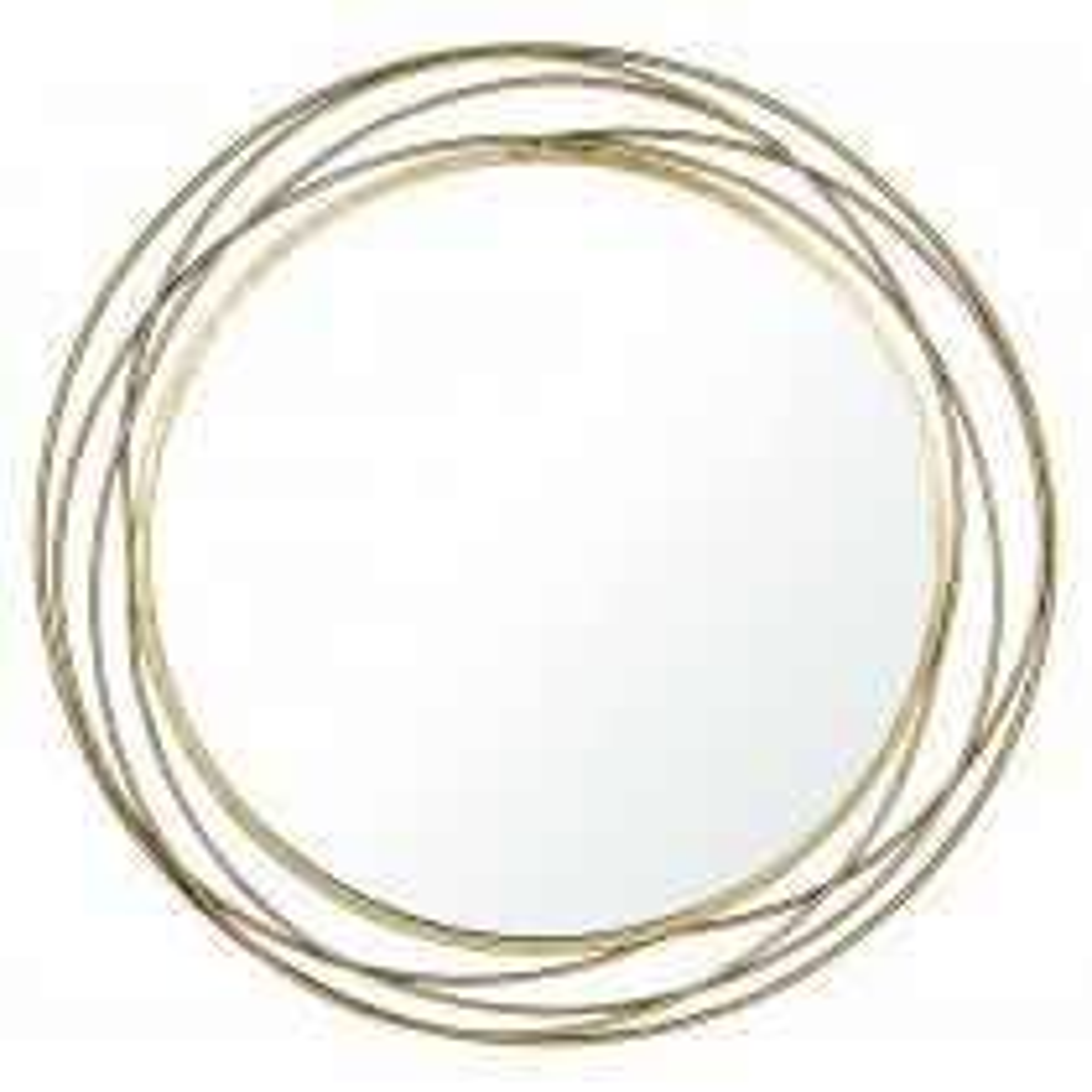 Casa Metal Round Wall Mirror, Antique Gold Metal