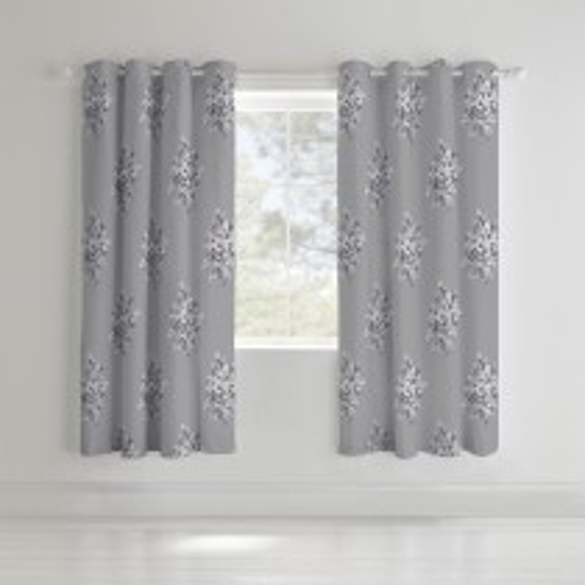 Catherine Lansfield Floral Bouquet Curtain, 168cm x 183cm, Grey
