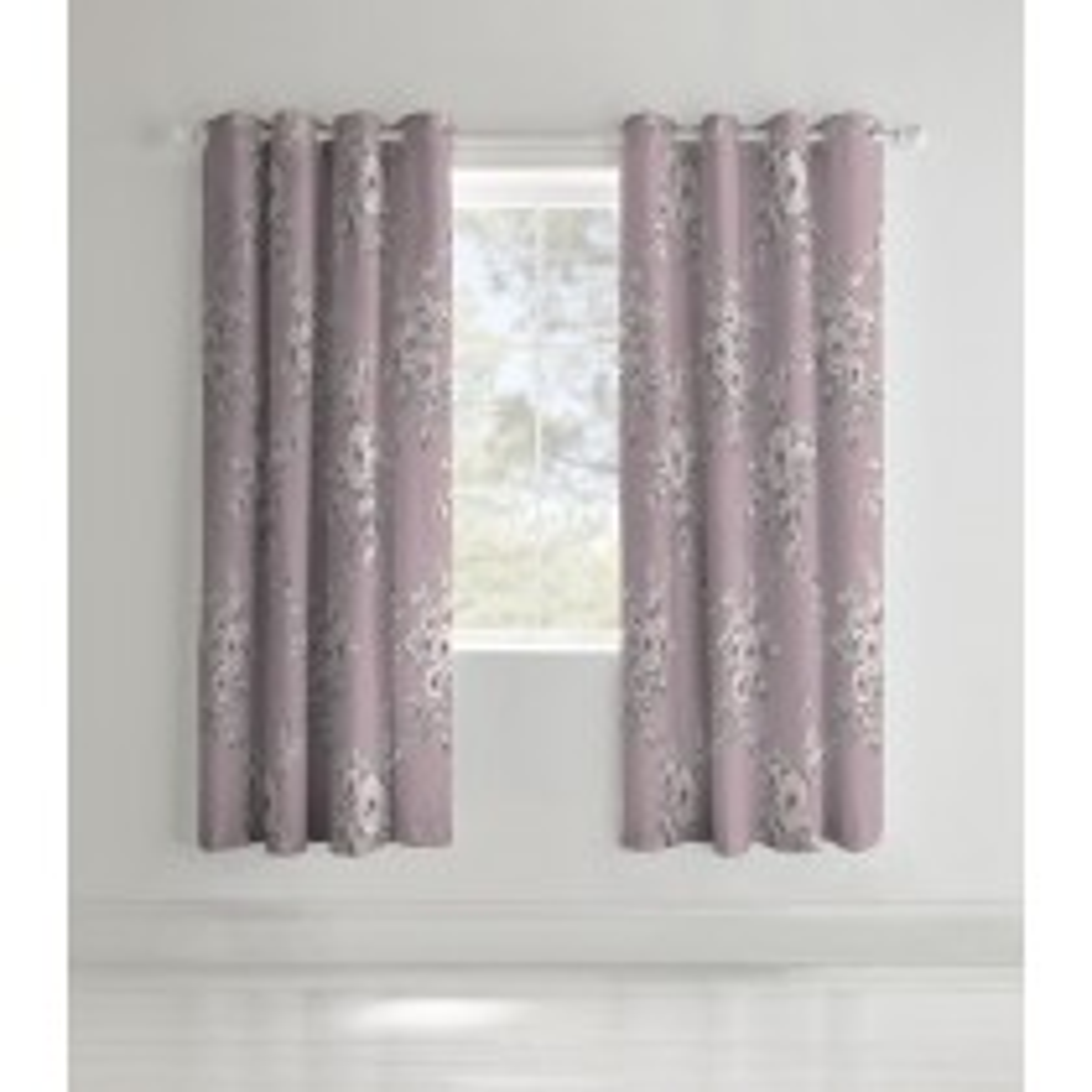 Catherine Lansfield Canterbury Curtain, 168cm x 183cm, Heather