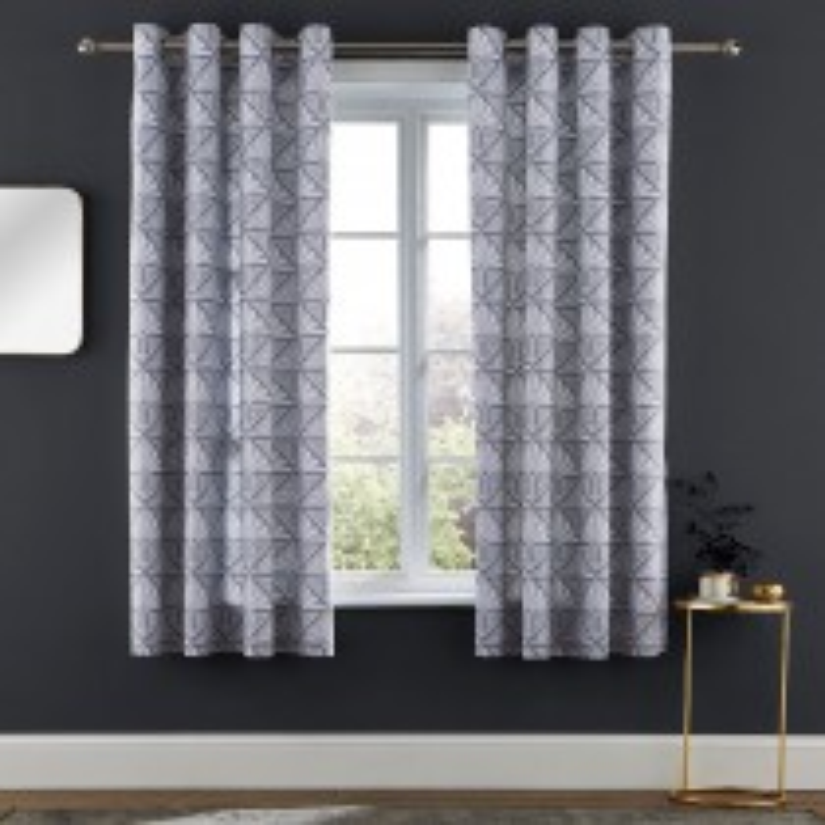 Catherine Lansfield Art Deco Curtain, 168cm x 183cm, Grey