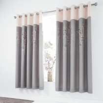 Catherine Lansfield Embroidered Blossom Curtain, 168cm x 183cm, Grey