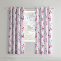 Catherine Lansfield Butterfly Curtain, 168cm x 183cm, Pink