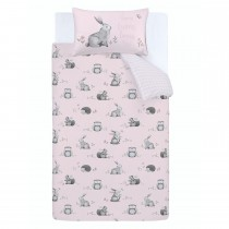 Catherine Lansfield Woodland Friends Duvet Set, Double, Pink