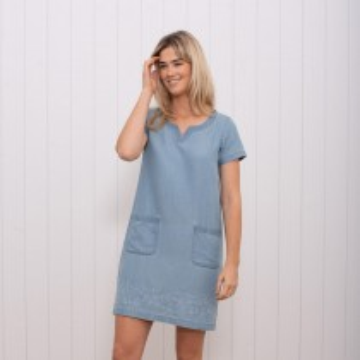 Brakeburn Woven Gathered Dress, UK12, Blue