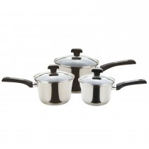 Prestige Dura Steel 3 Piece Saucepan Set, Stainless Steel
