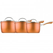 Prestige Prism 3 Piece Saucepan Set, Copper