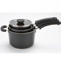 Kitchen Hacks 3 Piece Nesting Saucepan Set, Black