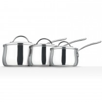Prestige Bell Shape 3 Piece Saucepan Set, Stainless Steel