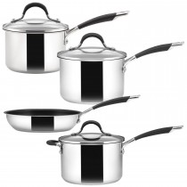 Circulon Momentum 4 Piece Saucepan Set, Stainless Steel