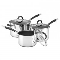 Circulon Momentum 3 Piece Saucepan Set, Stainless Steel