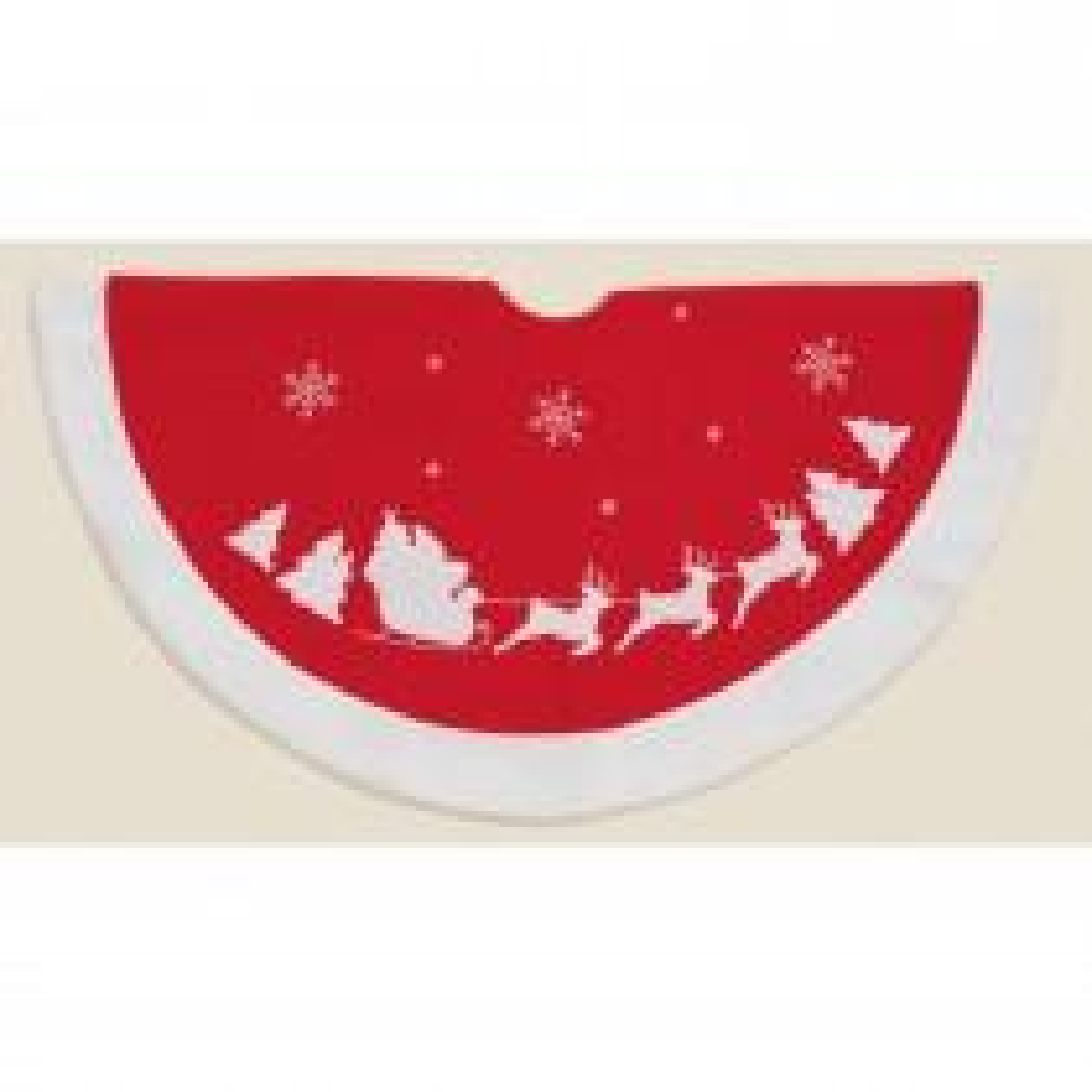 Casa Tree Skirt With Santa & Sleigh, Red