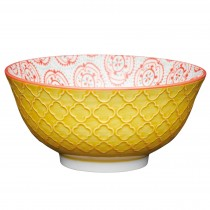 Kitchencraft Floral Emboss Bowl 15.7cm, Yellow