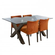 Casa Toledo Glass Top Table & 4 Chairs Dining Set