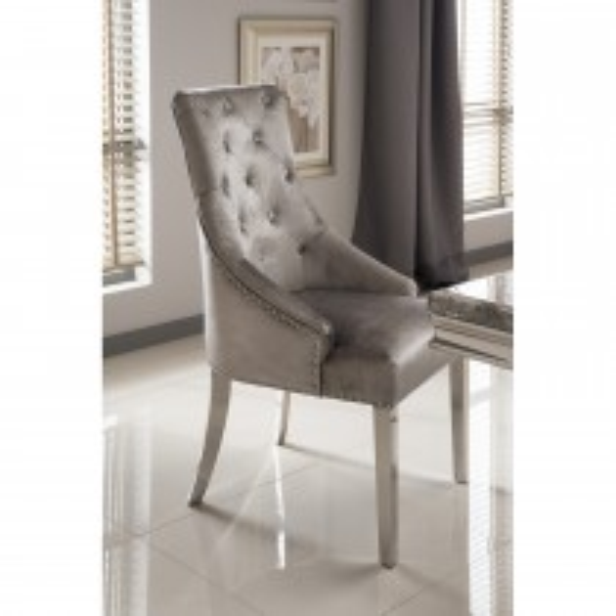 Casa Richmond Belverdere D Chair Chair, Pewter
