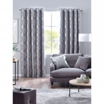 Belfield Forest Eyelet Curtain, 112cm x 137cm, Silver