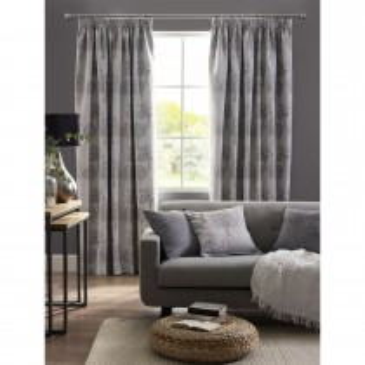Belfield Arden Tape Curtain, 112cm x 183cm, Silver