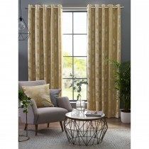 Belfield Gingko Eyelet Curtain, 112cmx137cm, Ochre