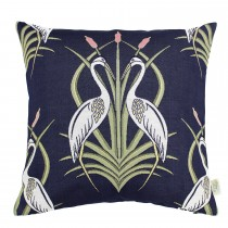The Châteaus By Angel Strawbridge Heron Cushion, 45cm x 45cm, Moat Navy