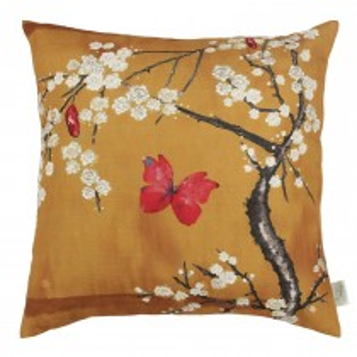 The Châteaus By Angel Strawbridge Blossom Digi Cushion, 45cm x 45cm, Ochre
