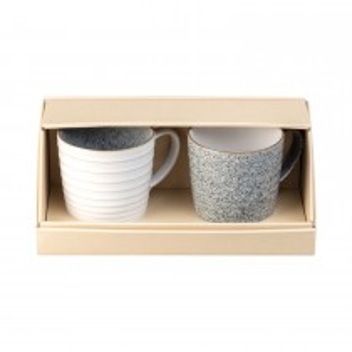 Denby Studio Grey Ridged Mug, Set of 2, Grey