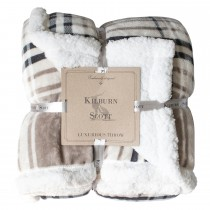 Gallery Check Sherpa Throw 152x177cm, Taupe & Grey