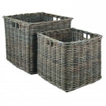 Casa Kubu Medium Square Baskets, Grey