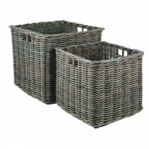 Casa Kubu Large Square Baskets, Grey