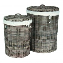 Casa Kubu Medium Round Hamper, Grey