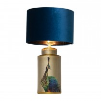 Pacific Lifestyle  Peacock Ceramic Table Lamp, Natural/blue