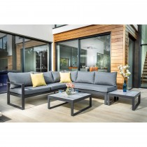 Hartman Vienna Garden Square Corner Set with Integrated Lounger, Grey/Weathered