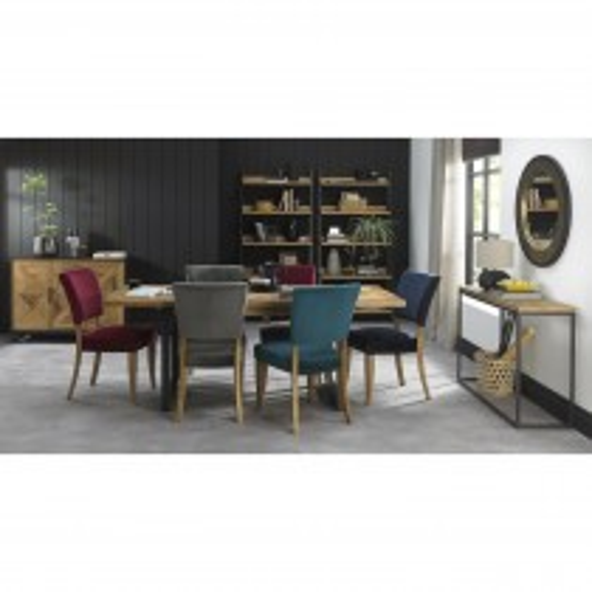 Casa Finsbury Table & 6 Chairs Dining Set, Rustic Oak & Peppercorn