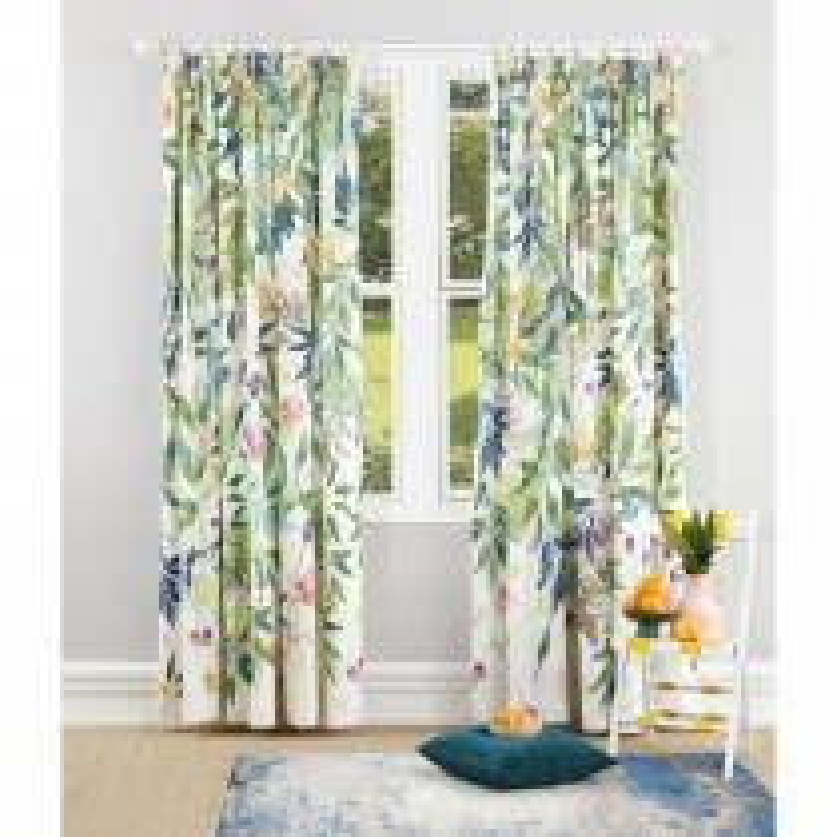 Bluebellgray Valencia Curtain 167x228cm, Multi & White