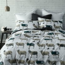 Sketch Counting Sheep Double Duvet Set, Multi & White