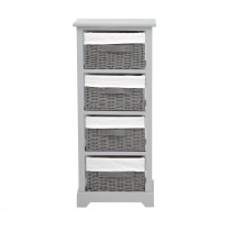 Casa Tall Unit With 4 Baskets, Grey