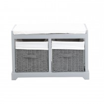 Casa Grey Bench With Drawers, White