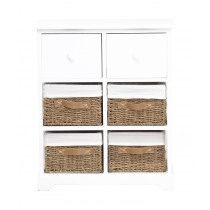 Casa Unit With 6 Basket Drawers, White