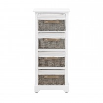 Casa Tall Unit With 4 Baskets, White
