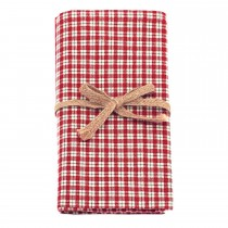 Walton And Co Bell Check Napkin, Red Gold White