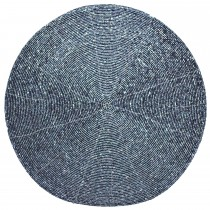 Walton And Co Circular Placemat Beaded Blue, Midnight