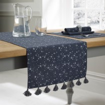 Walton And Co Starry Night Print Runner, Slate Blue/silver