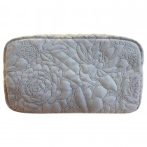 Danielle Exclusive Creations Embroidery Floral Beauty Bag, Dove Grey