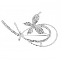 Butterfly Crystal Brooch, Silver