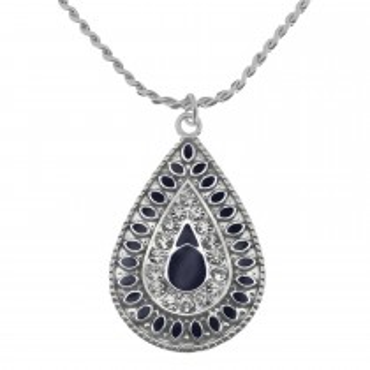 Drop Blue/crystal Necklace, Silver