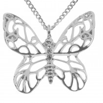 Butterfly Filigree Necklace, Silver