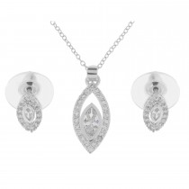 Oval Crystal Necklace Set, Silver