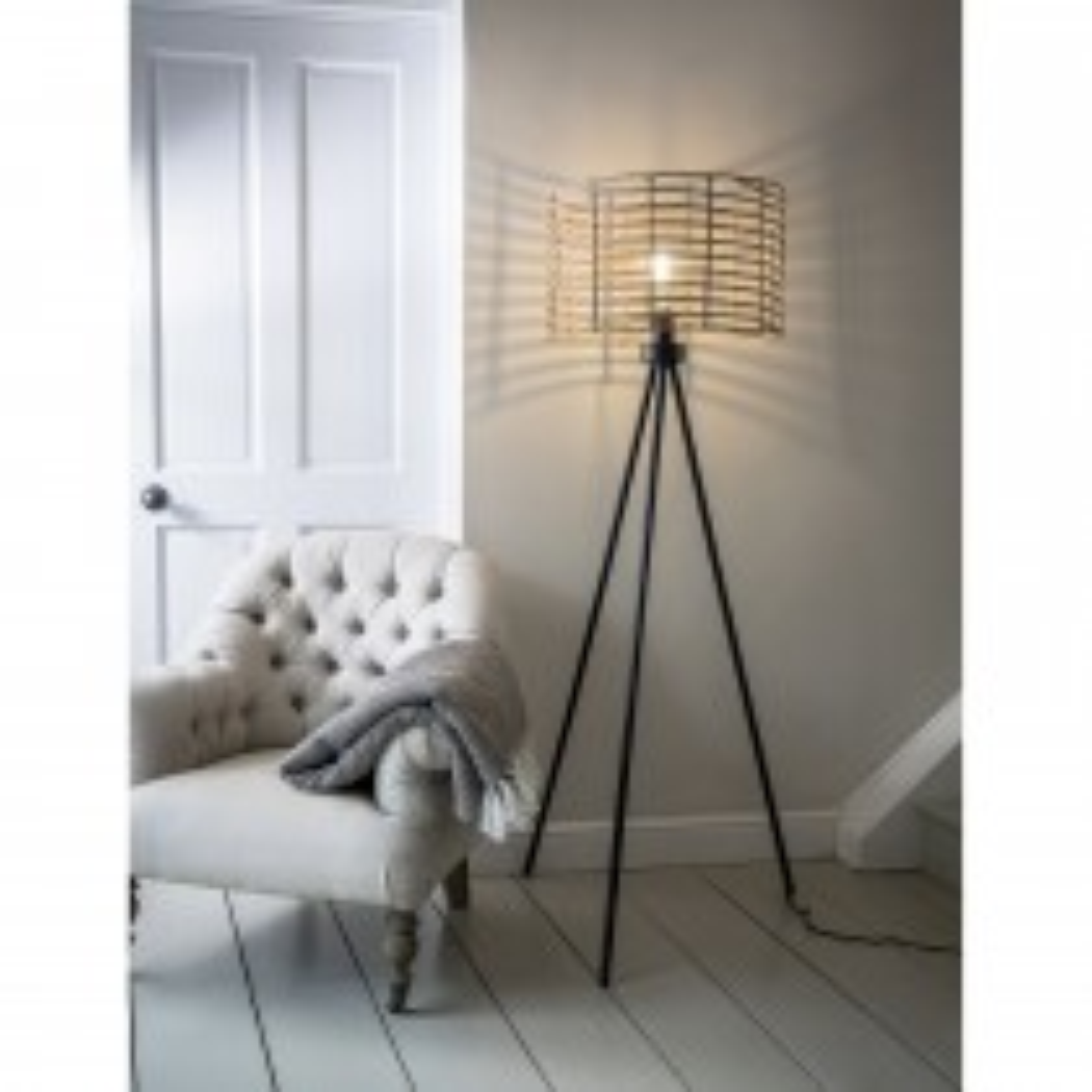 Garden Trading Hampstead Floor Lamp, Powder Coated Steel/pe Bamboo